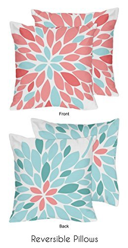 Sweet Jojo Designs 2-Piece Turquoise and Coral Emma Decorative Accent Throw Pillows
