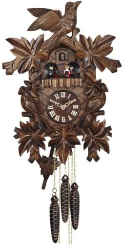 Quartz Cuckoo Clock with Music, Dancing Couple and Hand Made Carving, 14.5 Inch