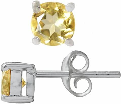 Natural Round Shape Citrine 925 Sterling Silver Stud Earrings