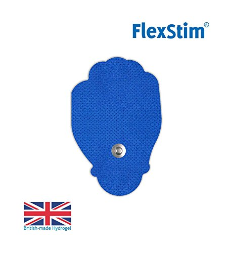 FlexStim Handshaped TENS/EMS Electrode Pads with Snap Connector, Supplied with British Made Premium Hydrogel - Compatible with Most TENS/EMS Units - Flexible Tens Pads - Easy to use. (20) ()