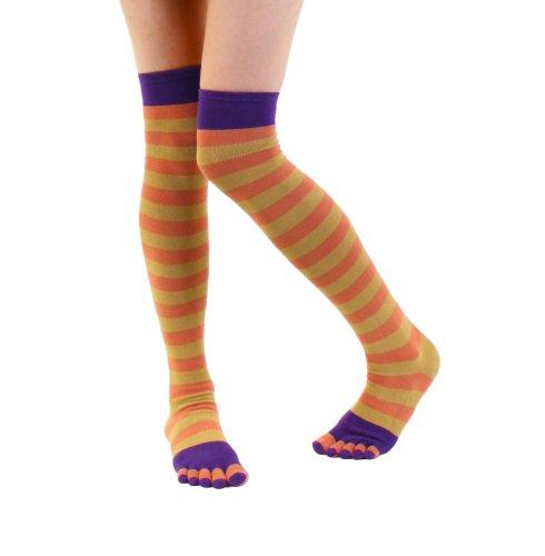 TOETOE Socks Fashion - Over-Knee (US 4.5-11.5, Purple-Orange-Dark Yellow)