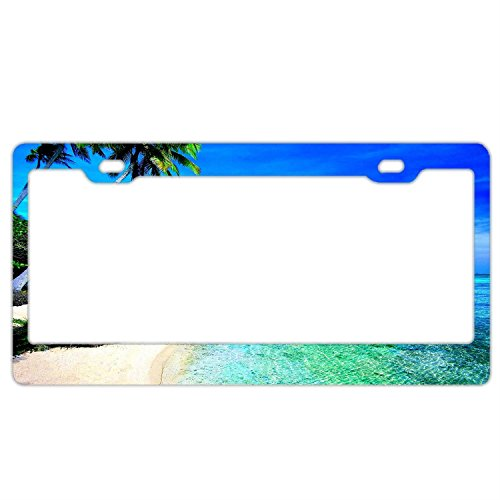 - Custom License Plate Frames Tropical Beach Leaves,Premium Quality Stainless Steel License Plate Covers for US Vehicles