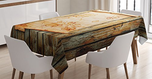 Gift Mark Rectangular Table - Island Map Tablecloth by Ambesonne, Treasure Map on Rustic Timber X Marks the Spot of Gold Nautical Pirates Concept, Dining Room Kitchen Rectangular Table Cover, 52 W X 70 L Inches, Cream Brown