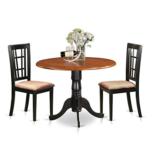 East West Furniture DLNI3-BCH-C 3 Piece Dining Table and 2 Solid Wood Kitchen Chairs Dublin Set (Tables Sets Cheap Kitchen)