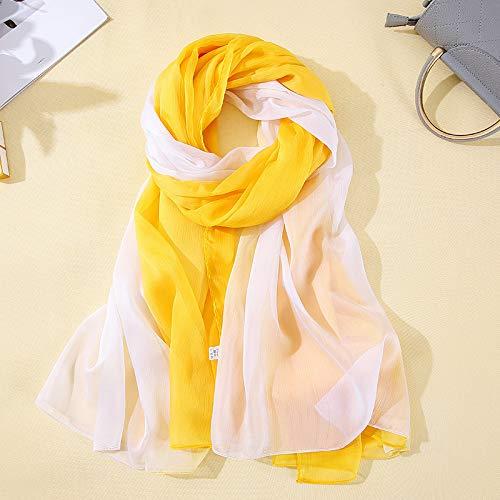 (LYM-Ladies spring and summer gradient wild beach towel chiffon sunscreen scarf shawl 140 180cm)
