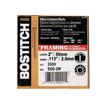 BOSTITCH S6D-2M Clipped Head 2-Inch by .113-Inch by 28 Degree Wire Collated Framing Nail (2,000 per Box) by Bostitch