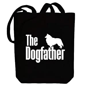 """Idakoos The dogfather Collie Rough Canvas Tote Bag 10.5"""" x 16"""" x 4"""" 7"""