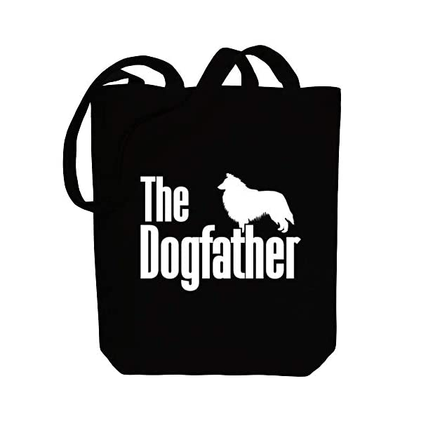 "Idakoos The dogfather Collie Rough Canvas Tote Bag 10.5"" x 16"" x 4"" 1"