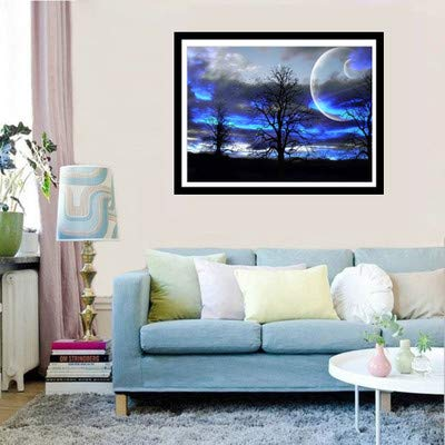 Farsla Starry Night Tree 5D Diy Round Diamond Painting By Number Kits Mosaics Embroidery Rhinestone landscape Painting for Wall Decor(16X12inch/40X30CM)