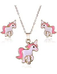 Unicorn Necklace Cute Cat Animal Necklace Earrings Jewelry Set for Girls