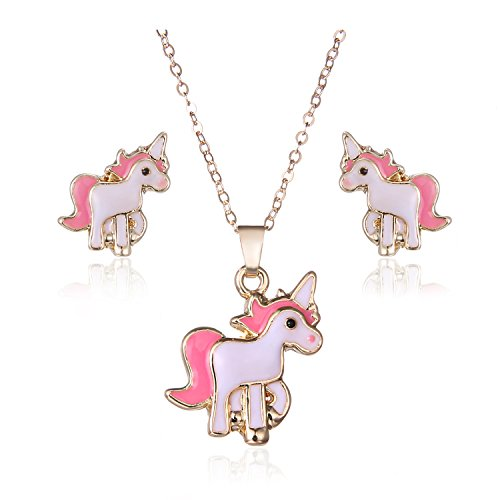 Gudukt Unicorn Necklace Pink Cute Animal Necklace and Earrings Jewelry Set For Girls
