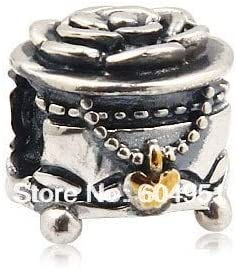 Calvas 1PCS//lot European 925 Sterling Silver Box Charm Beads Fits European Style Bracelets Jewelry