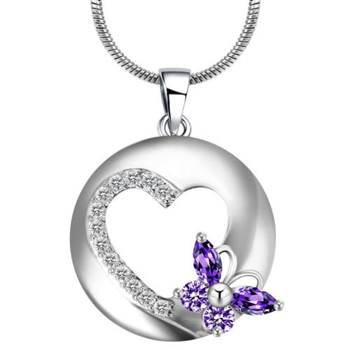 Phonphisai shop Lady 925 Silver Filled Crystal Heart Butterfly Amethyst Pendant Chain Necklace ()