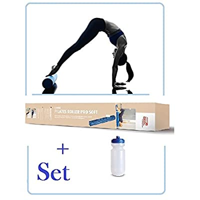 Sissel Pilates Roller Pro Soft–(Bleu–90cm) avec gourde en kit, pour débutants et * * Nouveau * *