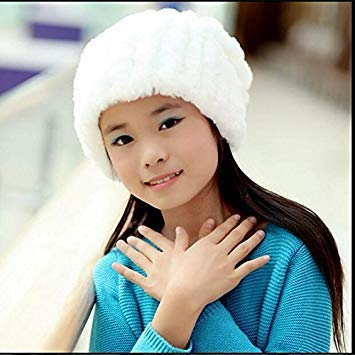 bae4421ff White : Russian Children Knitted Rabbit Fur Hats Girl: Amazon.in ...