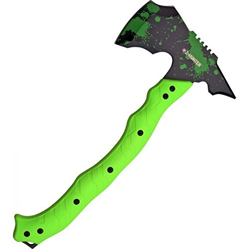 Axe with Sheath Black Blade with Green Splatters, 14.5