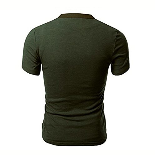 Herren Kurzarm V-Ausschnitt Knopf Dekor Patchwork-T-Shirts aus Baumwolle T-Shirts (XL, Grün)