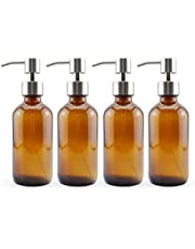 Cornucopia 8oz Amber Glass Pump Bottles w/Stainless Steel Pumps (4-Pack); Glass Soap Dispenser and Lotion Pump Bottles for Liquid Soap, Sanitizer, Aromatherapy, and More