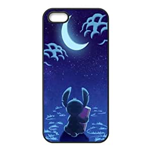 Caso del iPhone 4 4S Teléfono Funda Negro Disney Stitch K7R0JE duro Phone Case Funda Steam