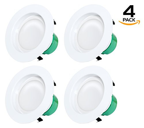 Westgate Lighting 12 Watt 4″ Inch Recessed Lighting Kit Dimmable LED Retrofit Downlight With Integrated Smooth Trim 120V – 5 Year Warranty (3500K Neutral White, 4 Pack)