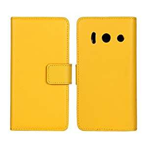 Waltzmart Cowskin Flip Leather Wallet Card Pouch Stand Back Case Cover For Huawei Ascend Y300 Yellow
