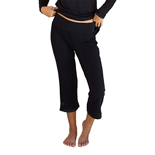 Faceplant Dreams Dreamwear Bamboo Capri Pants (Medium, Black)