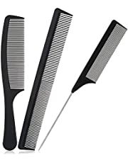 AMOLEY 3 PCS Carbon Fiber Combs, Rat Tail Pin Tail Combs Fine Wide Tooth Hair Barber Comb Anti Static Heat Resistant Styling Comb Hairdressing Comb for Hair Styling Salon Home (Black)