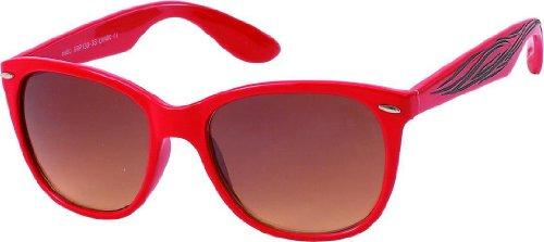 Chic Teinté net Brun Unisexe 400uv Tatouage De Rouge Lunettes Glasses Wayfarer Atzenbrille Nerd Soleil 664Trxwq