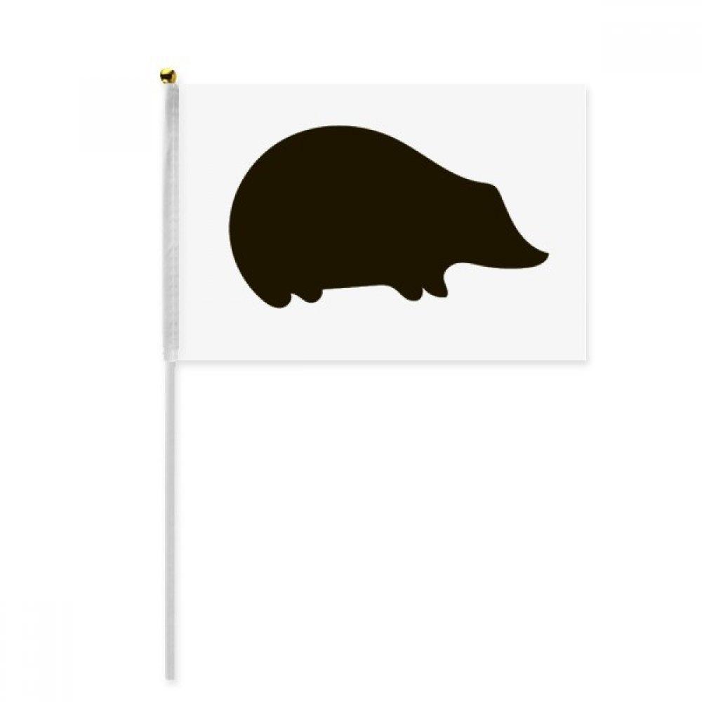 Black Hedgehog Animal Portrayal Hand Waving Flag 8x5 inch Polyester Sport Event Procession Parade 4pcs