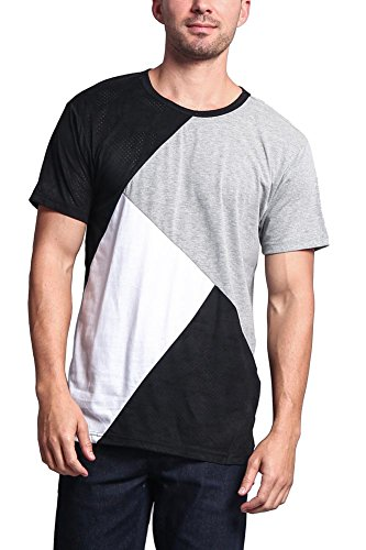 G-Style USA Diagonal Colorblock Poly Suede Mesh Long Length T-Shirt - TS679 - BLACK/GREY - Medium - I3C