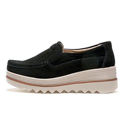 HKR Frauen Plattform Slip auf Loafers Comfort Wildleder Mokassins Breite Low Top Wedge Schuhe Schwarz