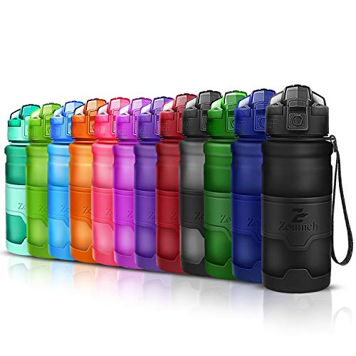 Sports Water Bottle Plastic Drinking Bottles BPA Free Leakproof with filter&time marker&Scratch Resistant,Flip Top With 1 Click Reusable For Kids,400/500/700ml/1L,33oz,for Outdoor,Cycling,Camping,Gym