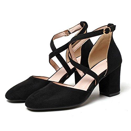 Coolcept Mujer Moda Cruzado Correa Sandalias Cerrado Tacon Ancho Zapatos Negro