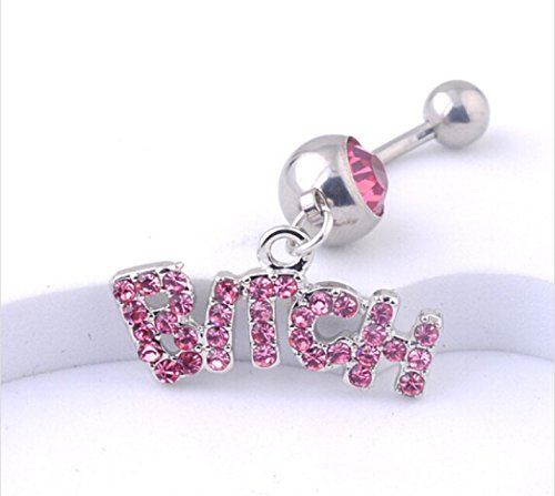 Surgical Steel Pink and White Crystal Rhinestone Letter