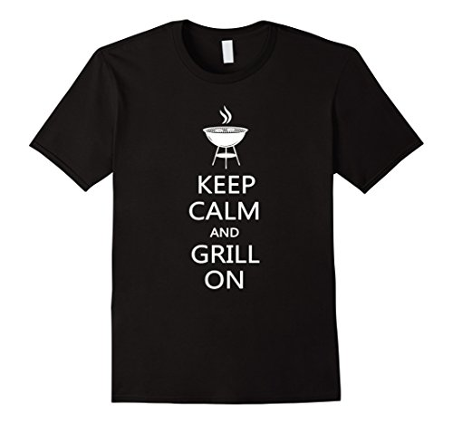 Mens Keep Calm And Grill On Funny Grilling Master T Shirt Gift Large Black