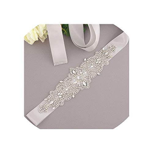 Vicky Crystal and Rhinestones Gown Dresses Belt Accessories Wedding Belts for Bride Bride Waistband Bridales,Gray
