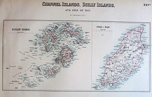 Channel Scilly Islands c.1860 Fullarton Isle of Man Jersey Guernsey detailed map