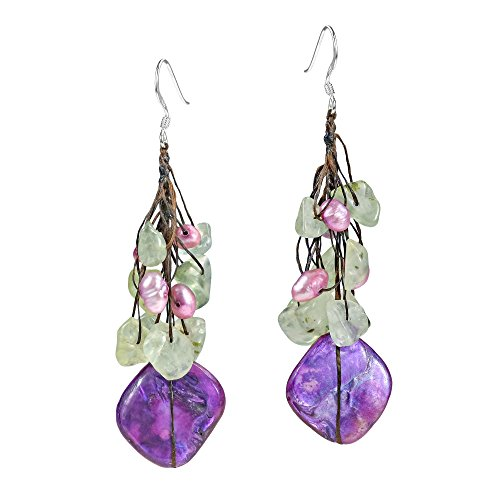 Purple MOP-Simulated Aventurine-Cultured FW Pearls Drop Sterling Silver Earrings ()