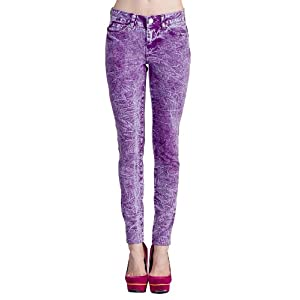VIRGIN ONLY Women's Mineral Wash Rivit Rhinestones Skinny Jeans