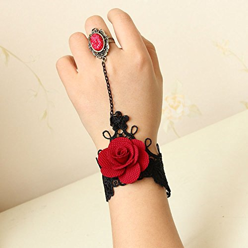 Korean decorative black lace wrist bracelet wrist strap connected to one ring chain burgundy roses jewelry