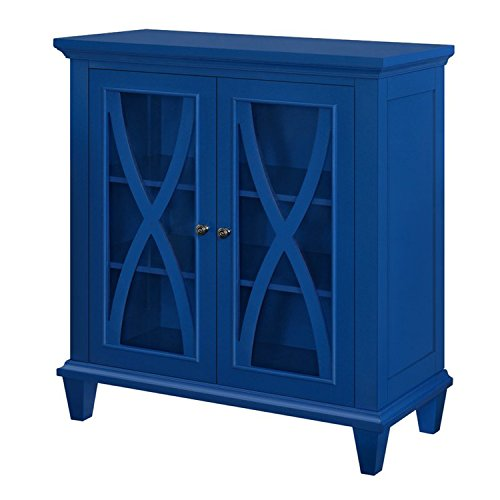 Accent Storage Cabinet with 2 Glass Doors - Contemporary Storage Organizer - Use as Buffet, Sideboard, Server or Living Room Cabinet - Can be TV Stand Media Entertainment Center, Console Table (Blue)