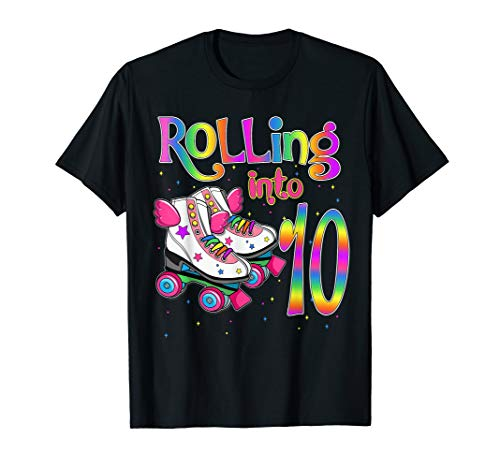 Rolling Into 10 years Lets Roll I'm Turning 10 Roller Skate  T-Shirt (Roller Skate Tee)