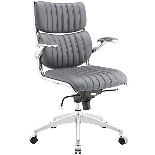 Modway Escape Ribbed Faux Leather Ergonomic Computer Desk Office Chair in Gray (Chair Manhattan)
