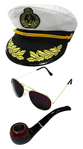 Ship Captain Hat Pipe and Aviator Sunglasses, Multi, One ()