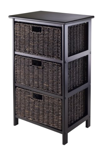 Winsome Omaha Storage/Organization, 3 Baskets, Black (Drawers Small Wicker)