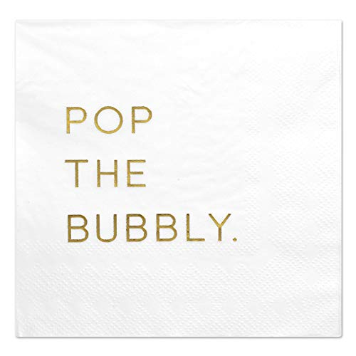 (Andaz Press Pop The Bubbly, Funny Quotes Cocktail Napkins, Gold Foil, Bulk 50-Pack Count 3-Ply Disposable Fun Beverage Napkins for Birthday Party, Holiday, Thanksgiving, Christmas, New Year's Eve Bar)
