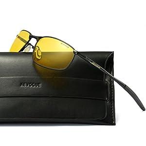 AEVOGUE Polarized Sunglasses For Men Rectangle Metal Frame Retro Sun Glasses AE0535 (Black&Yellow, 59)