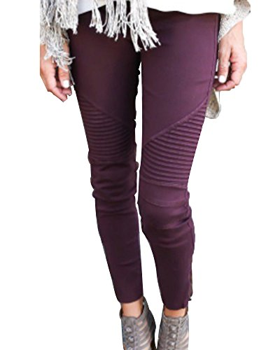 Leggings Pants Avec Pantalons Femme Rouge Vin Zipper Slim Stretch Casual Jeans Jeggings Crayon Skinny w0TIAqxga