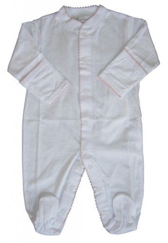 Kissy Kissy Baby Signature Footie-White with Pink-3-6 Months