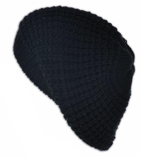 Knit Crochet Beanie Tam (Black)